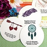 Personalized Round White Paper-Board Coasters (125 Designs)