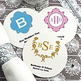 Monogrammed Round White Paper-Board Coasters (17 Designs)