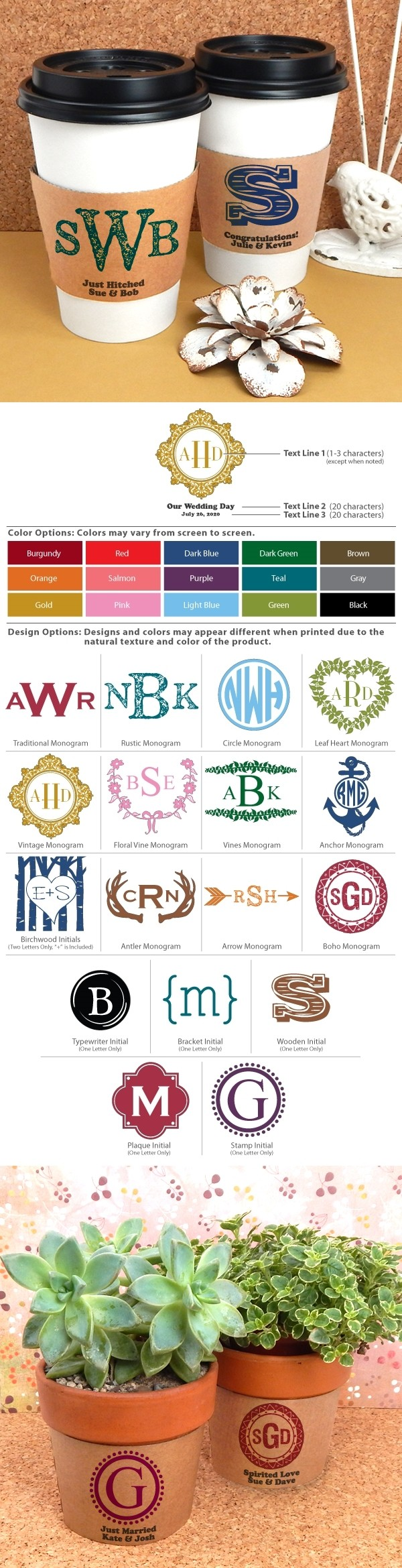 Ducky Days Personalized Insulated Cup Sleeves with Monogram Designs