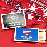 Ducky Days Personalized Patriotic Designs White Matchboxes (Set of 50)