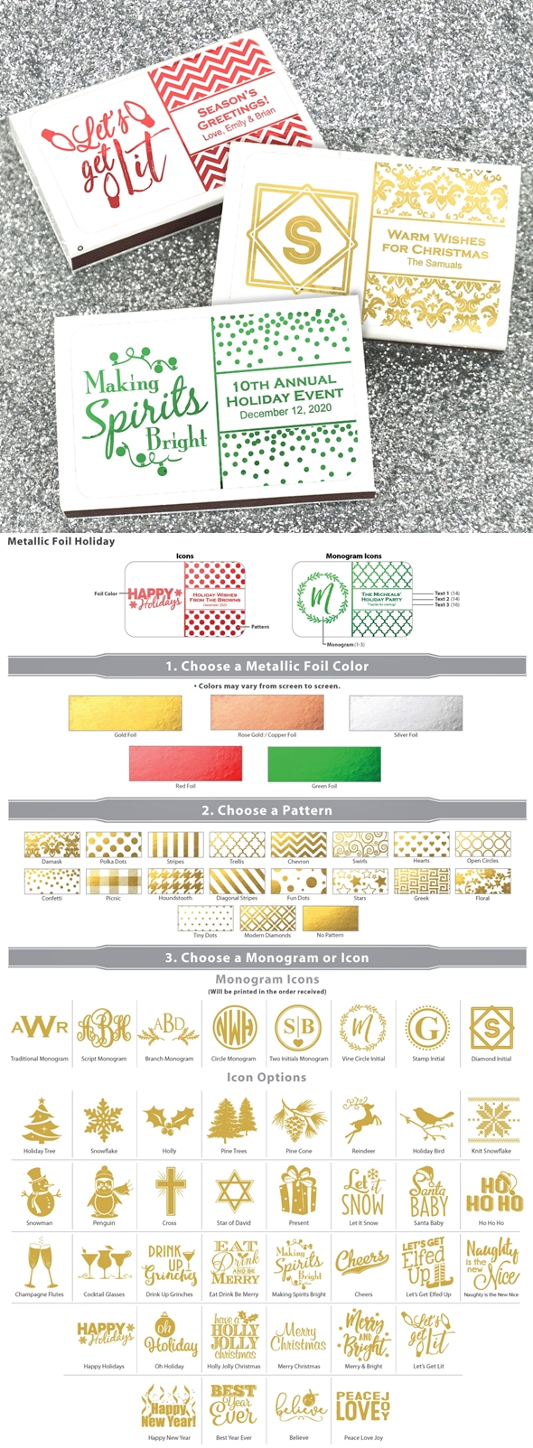 Metallic Foil Holiday Design Personalized White Matchboxes (Set of 50)
