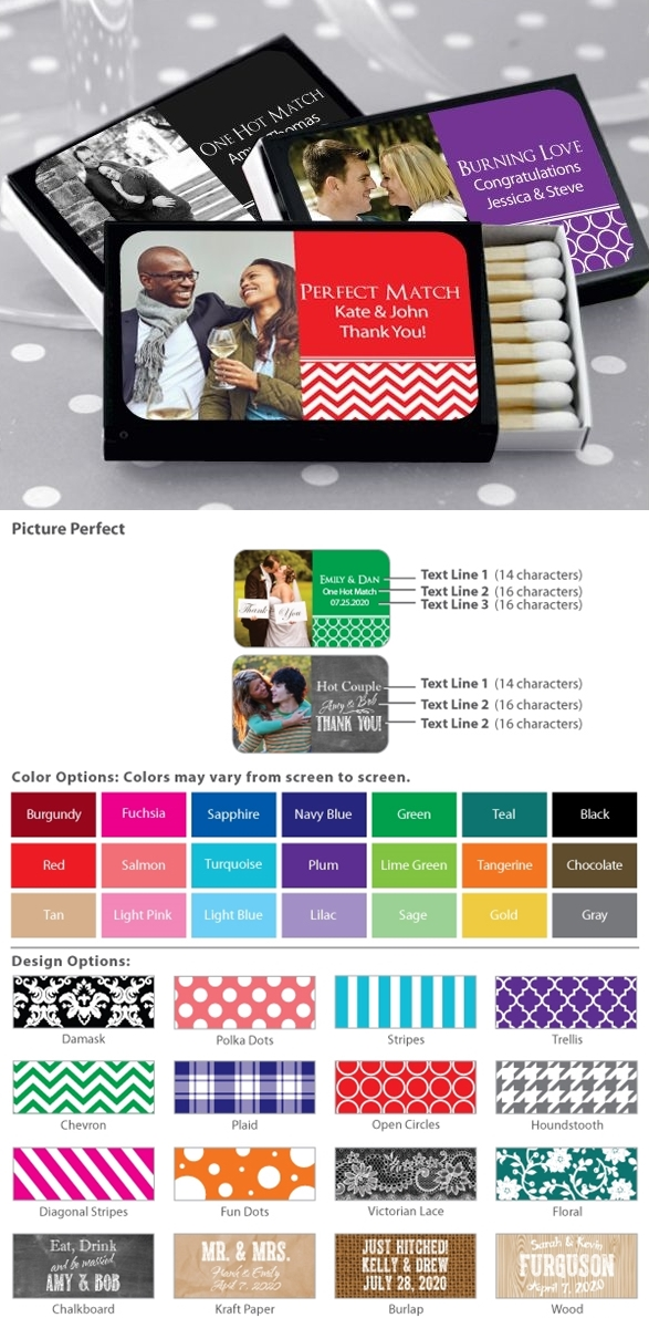 Custom Picture Perfect Photo Matches in Black Matchbox (Set of 50)