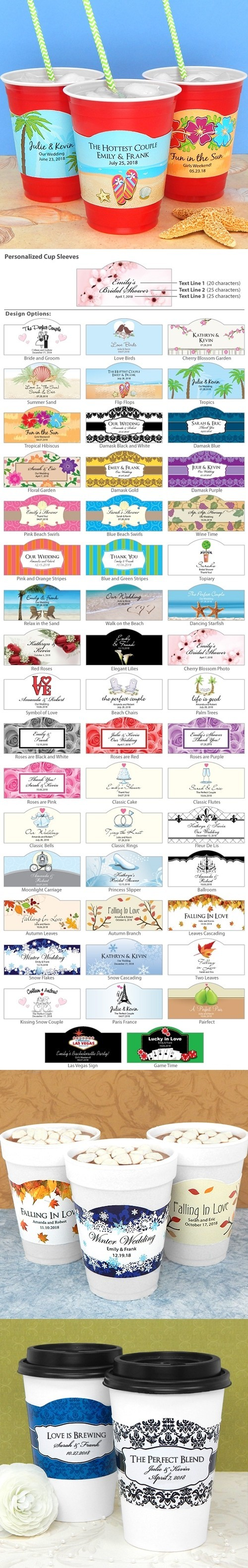 Ducky Days Personalized Cup Sleeves with Wedding Designs