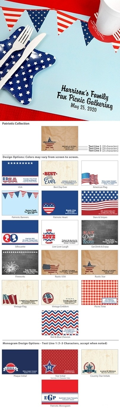 Personalized Water-Resistant Patriotic Placemats (20 Designs)
