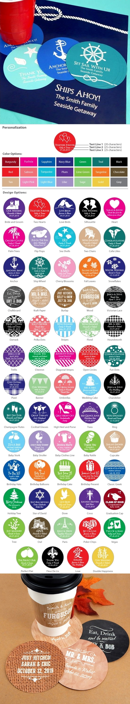 Personalized Round Cardstock-Paper Coasters (Silhouette Designs)