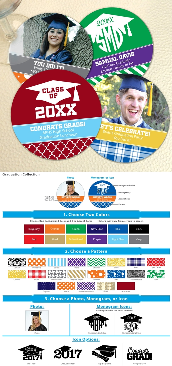 Personalized Round Cardstock-Paper Coasters (Graduation Designs)