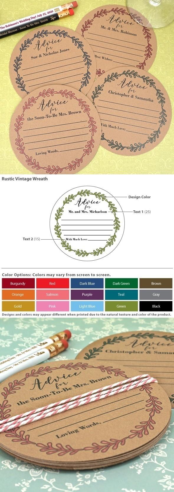 Personalized Rustic Vintage Wreath Kraft Advice Coasters (15 Colors)