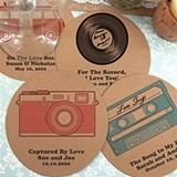 Personalized Round Kraft Cardstock-Paper Coasters (125 Designs)