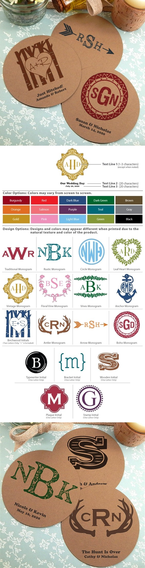 Monogrammed Round Kraft Cardstock-Paper Coasters (17 Designs)