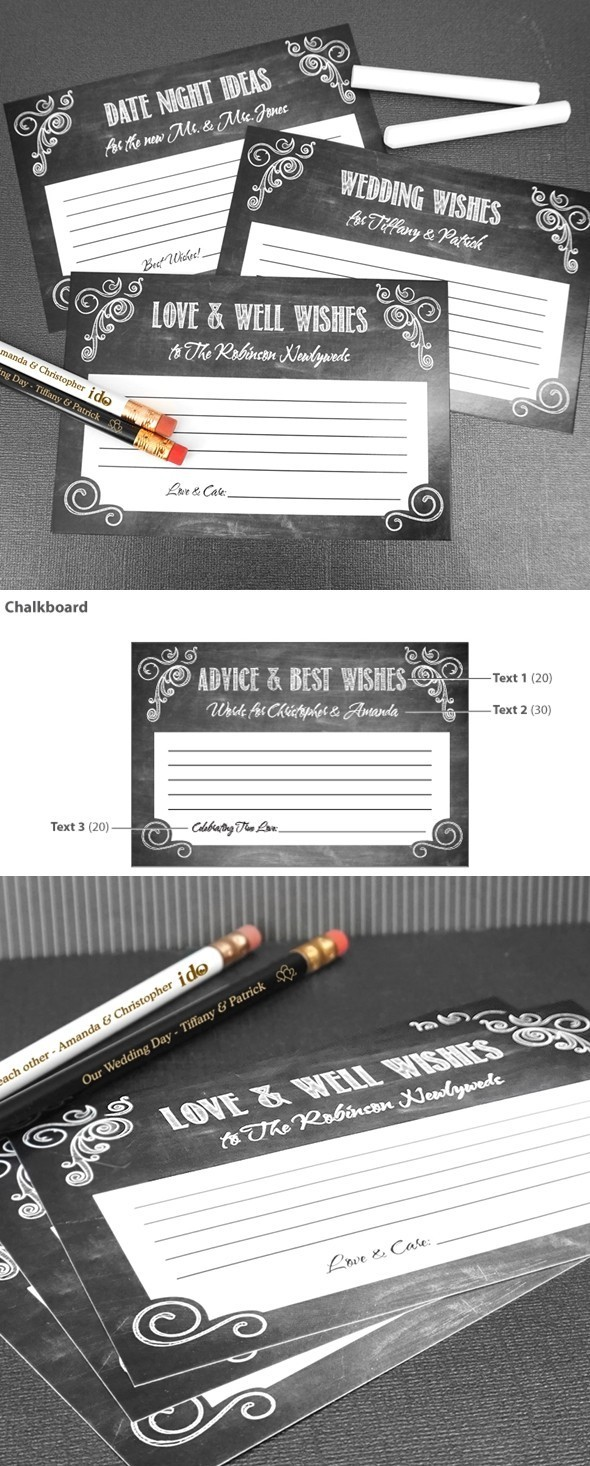 Personalized Chalkboard Motif Cardstock Advice Cards (Set of 25)