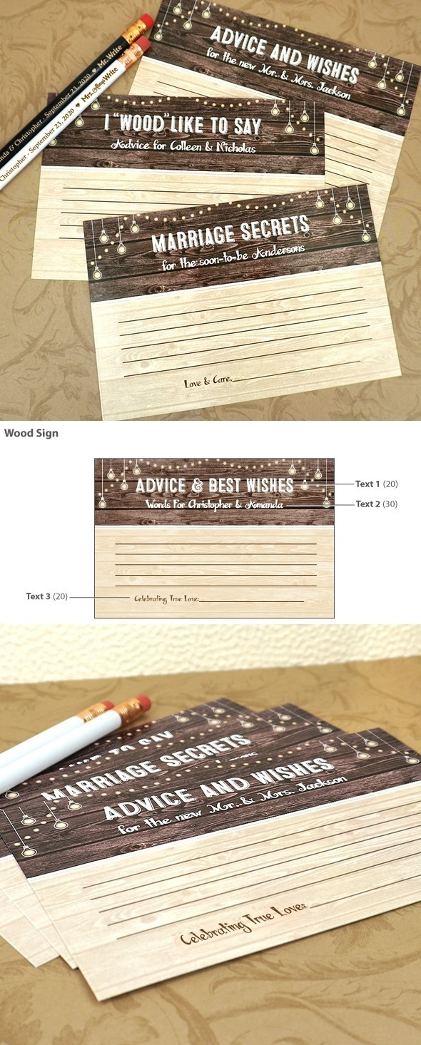 Personalized Rustic Wood Sign Motif Cardstock Advice Cards (Set of 25)