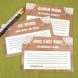 Personalized Burlap & Lace Design Cardstock Advice Cards (Set of 25)