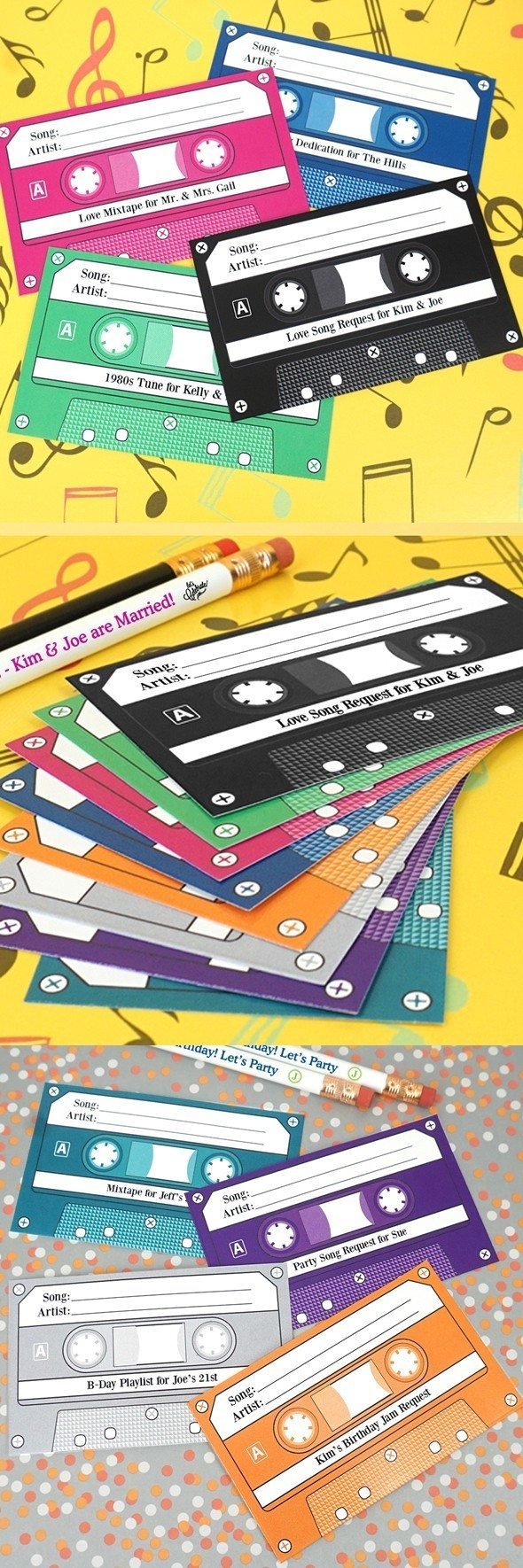 Personalized Retro Cassette-Tape Shaped Song Request Cards (15 Colors)