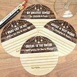 Personalized Rustic Woodgrain & Lights Motif Paper Advice Coasters