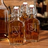 Clear Glass Swing-Top Flask 8.5 oz with Crest Monogram A-Z
