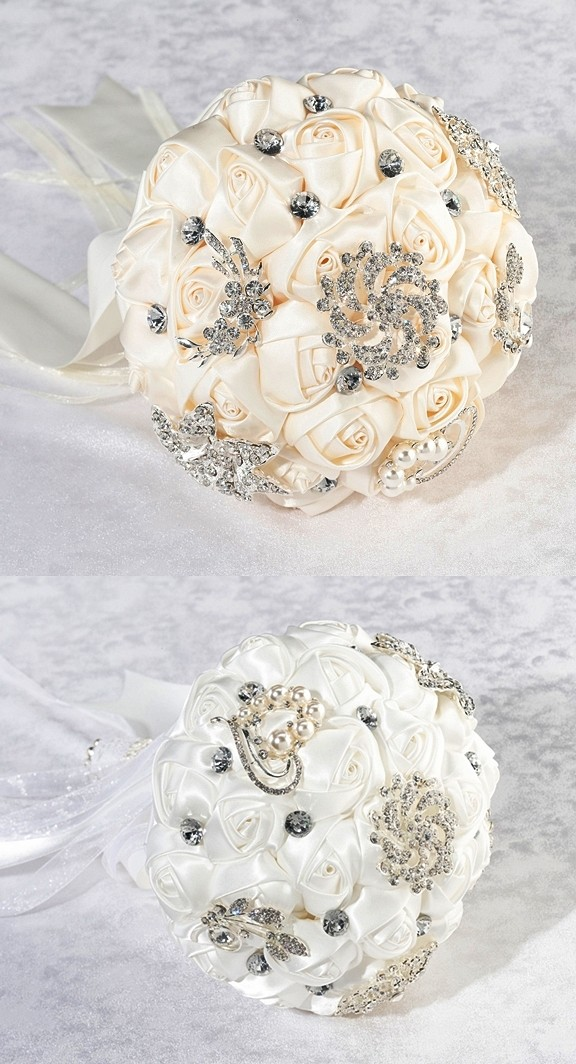 Lillian Rose Crystal Flower Bouquet with Ivory or White Satin Roses ...