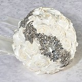 Lillian Rose Pearl/Rhinestone Bouquet - Cream
