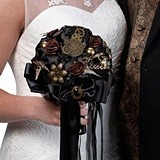 Lillian Rose Black and Antique Bronze Steampunk Wedding Bouquet