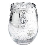 Lillian Rose Silver Mercury Glass Candle Holder with Pendant Accents