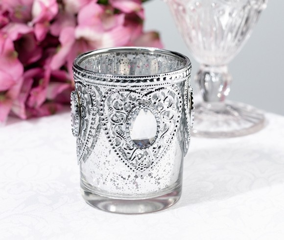 Lillian Rose Silver Glass Tealight Cups with Heart Motifs (Set of 3)