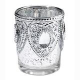 Lillian Rose Silver Glass Tealight Cups with Heart Motifs (Set of 3)