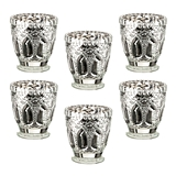 Lillian Rose Metallic Silver Cut-Glass Votive Candle Holders (Set of 6)