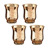 Lillian Rose Gold Tulip-Shaped Mercury Glass Votive Holders (Set of 4)