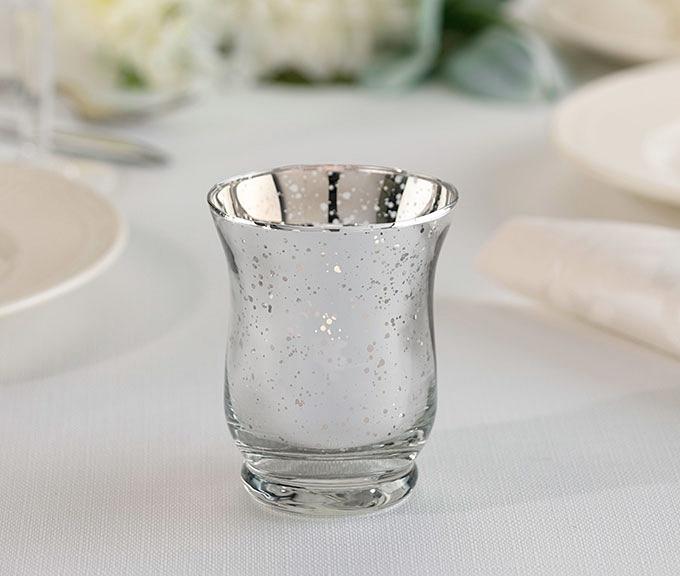 Lillian Rose Silver Tulip-Shaped Mercury Glass Votive Holders (Set of 6)