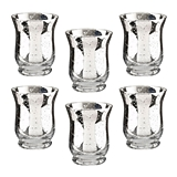 Lillian Rose Silver Tulip-Shaped Mercury Glass Votive Holders (Set of 6)