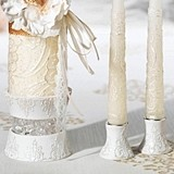 Lillian Rose Three-Piece White Filigree Candle Holder Set