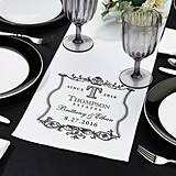 Lillian Rose Personalized Vineyard Motif White Canvas Table Runner