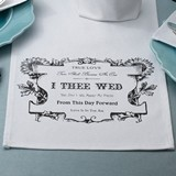 "Lillian Rose ""I Thee Wed"" Design White Canvas Table Runner"