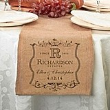 Lillian Rose Personalized Vineyard Motif Burlap Table Runner