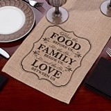 "Lillian Rose ""Food Family & Love"" Burlap Table Runner"