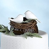 Lillian Rose Glossy White Love Birds Cake Picks (Set of 2)