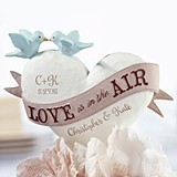 "Personalized Heart-Shaped ""Love is in the Air"" Cake Top"