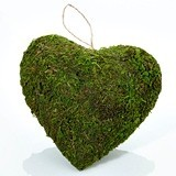 Lillian Rose Hanging Moss-Covered Heart Decoration