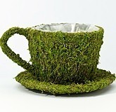 Lillian Rose Lined Faux-Moss Teacup-Shaped Decoration