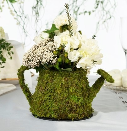 Lillian Rose Lined Faux-Moss Watering-Can-Shaped Decoration