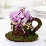 Lillian Rose Rattan & Moss Teacup Decoration/Flower Girl Basket