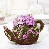 Lillian Rose Rattan & Moss Teapot Decoration/Flower Girl Basket
