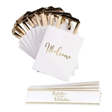 Lillian Rose Gold & White Wedding Welcome Bags with Water Bottle Wraps