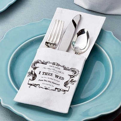 """I Thee Wed"" Design Silverware Holders (Set of 4)"