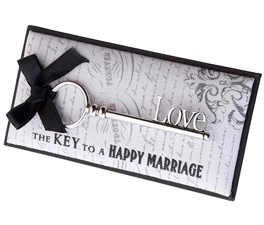 """Love is the Key to a Happy Marriage"" Love Key Favor"
