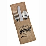 Personalized Crest Design Burlap Canvas Silverware Holders (Set of 4)
