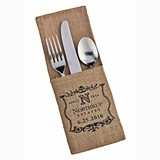 Personalized Vineyard Motif Burlap Silverware Holders (Set of 4)