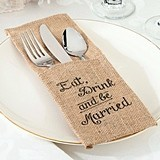 Eat, Drink and Be Married Burlap Silverware Holders (Set of 4)