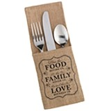 """Food Family & Love"" Burlap Silverware Holders (Set of 4)"