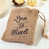 "Lillian Rose ""Love is Sweet"" Burlap Favor Bags (Set of 4)"