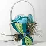 Lillian Rose Peacock Feather Motif Flower Girl Basket